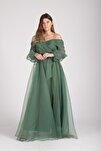 Yeşil Kayık Yaka Yırtmaçlı Abiye & Mezuniyet Elbisesi 1301583