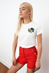 Beyaz Nakışlı Basic Örme T-shirt TWOSS19PB0013