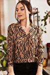 Kadın Vizon Çizgi Desen Uzun Kol Gömlek ARM-20Y001002