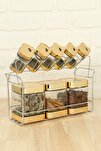 Dubai Arya 9 Parça Baharat Takımı/gold