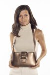 Aynı Butikte 2. Ürün 1 TL Bakır Kadın Kemerli Baguette Omuz Çantası