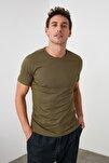 Açık Haki Erkek Basic Pamuklu Kısa Kollu Bisiklet Yaka Slim Fit T-Shirt - TMNSS19BO0001