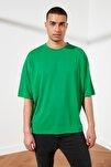 Yeşil Basic Erkek Oversize Bisiklet Yaka Kısa Kollu T-Shirt TMNSS21TS0811