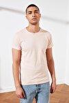 Açık Gül Kurusu Erkek Basic Pamuklu Kısa Kollu Slim Fit T-Shirt - TMNSS19BO0001