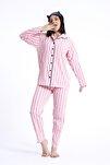 %100 Pamuk Gömlek Yaka Düğmeli Beyaz Çizgili Pembe Kadın Gecelik Pijama Takımı