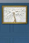 75 X 105 Gold Çerçeveli Premium Beyaz Gelincik Kanvas Tablo