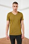 Açık Haki Basic Erkek Slim Fit V Yaka Kısa Kollu T-Shirt TMNSS19BO0002