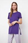 Mor Asimetrik Boyfriend Örme T-Shirt TWOSS20TS0829