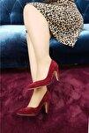 Kadın Bordo Süet Topuklu Ayakkabı