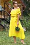 Kadın Sarı Madonna Fırfır Yaka Büyük Beden Şifon Elbise