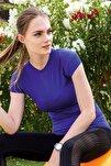 Kadın Saks Mavisi Çizgi Detaylı Sporcu T-shirt
