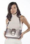 Aynı Butikte 2. Ürün 1 TL Gümüş Kadın Kemerli Baguette Omuz Çantası