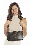 Aynı Butikte 2. Ürün 1 TL Haki Kadın Kemerli Baguette Omuz Çantası
