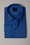 Slim Fit Düz Likralı Saten Erkek Gömlek