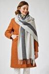Kadın Açık Gri Pamuklu Kareli Uzun Şal PD00011