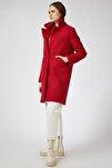 Kadın Kırmızı Yün Karışımlı Buklet Kaban  DD00770