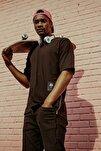 Siyah Yanı Fermuarlı Oversize T-shirt 1kxe1-44586-02