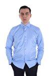 Erkek Mavi Uzun Kollu Klasik Gömlek