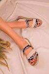 Bej Yılan Kadın Sandalet 15098