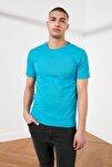 Petrol Erkek Basic Pamuklu Kısa Kollu Slim Fit T-Shirt - TMNSS19BO0001