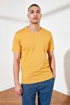 Hardal Basic Erkek Slim Fit V Yaka Kısa Kollu TMNSS19BO0002
