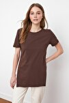 Kahverengi Asimetrik Boyfriend Örme T-Shirt TWOSS20TS0829