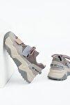 Kadın Platin Sneaker Dolgu Topuklu Spor Ayakkabı Cakir