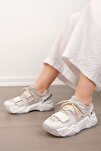 Kadın Beyaz Sneaker Dolgu Topuklu Spor Ayakkabı Cakir