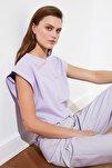 Lila Kolsuz Basic Örme T-Shirt TWOSS20TS0021