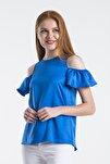 Kadın Mavi Ipek Saten Omuzu Açık Kolu Lastikli Bluz