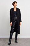 Kadın Siyah Zikzak Desenli Uzun Triko Hırka