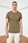 Haki Erkek Basic Pamuklu Kısa Kollu Bisiklet Yaka Slim Fit T-Shirt - TMNSS19BO0001