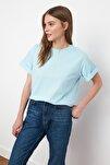 Açık Mavi %100 Pamuk Süprem Bisiklet Yaka Boyfriend Örme T-Shirt TWOSS20TS0134
