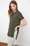 Haki Asimetrik Boyfriend Örme T-Shirt TWOSS20TS0829