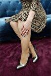 Kadın Platin Rugan Topuklu Ayakkabı