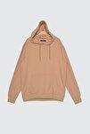 Bej Erkek Regular Fit Kapüşonlu Kanguru Cepli Uzun Kollu Sweatshirt TMNAW20SW0162