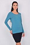 Pamuk Uzun Kollu Kadın T-shirt Mavi