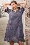 Kadın Füme Robası Dantel El İşi Çiçek Detay Cepli Astarlı Yıkamalı Dokuma Elbise M10160000EL95870