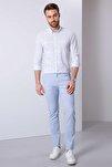 Erkek Açık Mavi Slim Fit Chino Pantolon