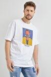 Beyaz Baskılı Salaş T-shirt 1kxe1-44649-01