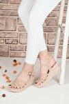 Kadın Bej Süet Bilek Bağlamalı Sandalet Terlik Ba19086