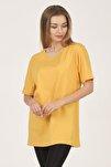 Kadın Sarı Bisiklet Yaka Kısa Kollu Basic T-shirt %100 Pamuk