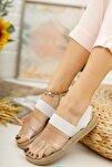 Kadın Beyaz Şeritli Sandalet