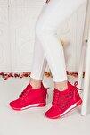 Kadın Desenli Kırmızı Yüksek Taban Gizli Topuk Spor Ayakkabı Ba20190