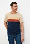 Bej Erkek Slim Fit Çizgili T-Shirt TMNSS20TS0166