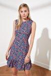 Siyah Çiçek Desenli Elbise TWOSS20EL1234