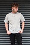 Erkek Gri Basic Bisiklet Yaka Oversize T-shirt