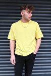 Unisex Sarı Basic Bisiklet Yaka Oversize T-shirt