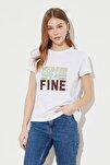 Beyaz Baskılı Basic Örme T-Shirt TWOSS20TS0267