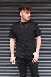 Erkek Siyah Basic Unisex Bisiklet Yaka Oversize T-shirt